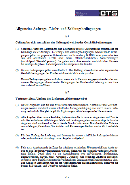 Terms of Service - CTS Vertriebs- und Service GmbH Bayern
